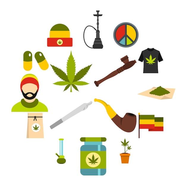 Rastafarian-ikonen eingestellt, flache art Premium Vektoren