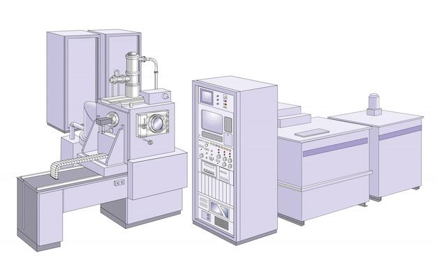 Rasterelektronenmikroskop Premium Vektoren