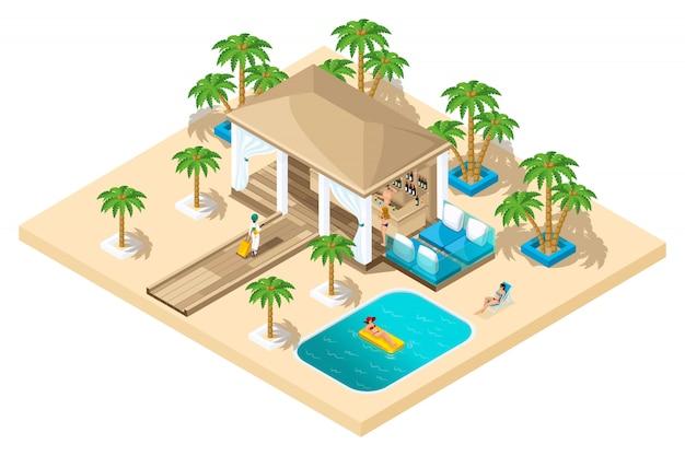Rasthaus, ein mädchen mit einem koffer aus dem flugzeug geht zur rezeption, luxuriöse ruhe, palmen, pool, sand Premium Vektoren