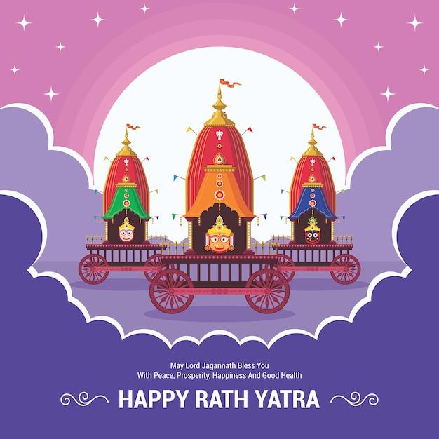 Rath yatra festival. fröhliche rath yatra-weihnachtsfeier für lord jagannath, balabhadra und subhadra. Premium Vektoren