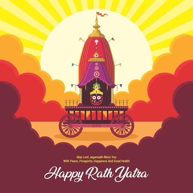 Ratha yatra festivalfeier für lord jagannath, balabhadra und subhadra. lord jagannath puri odisha gott rathyatra festival. Premium Vektoren