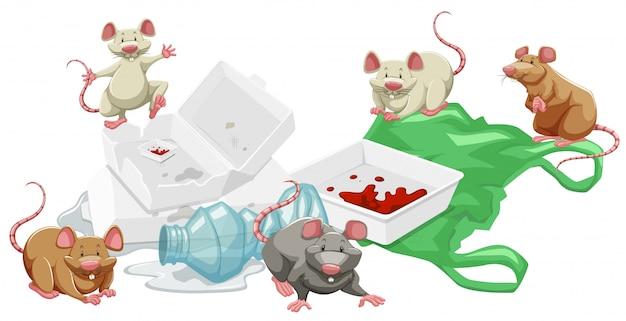 Ratten im müllhaufen Kostenlosen Vektoren