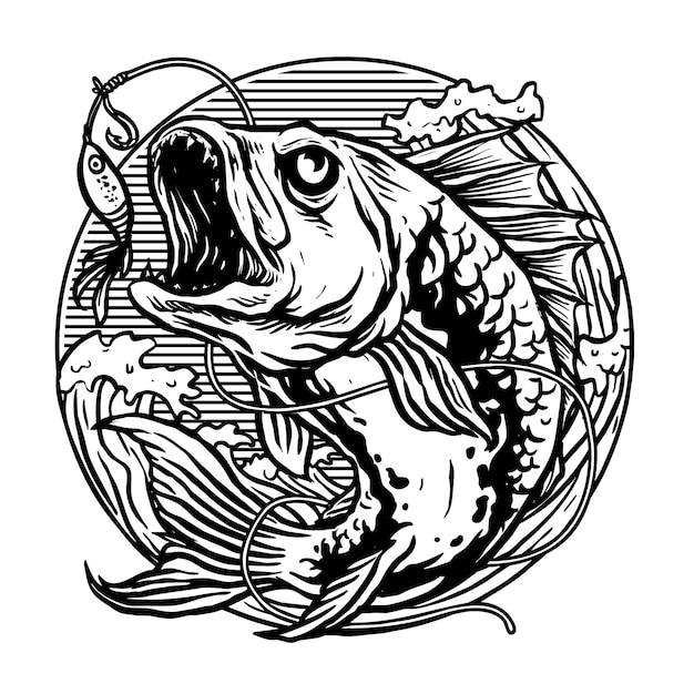 Raubfisch für angelverein logo vektor Premium Vektoren
