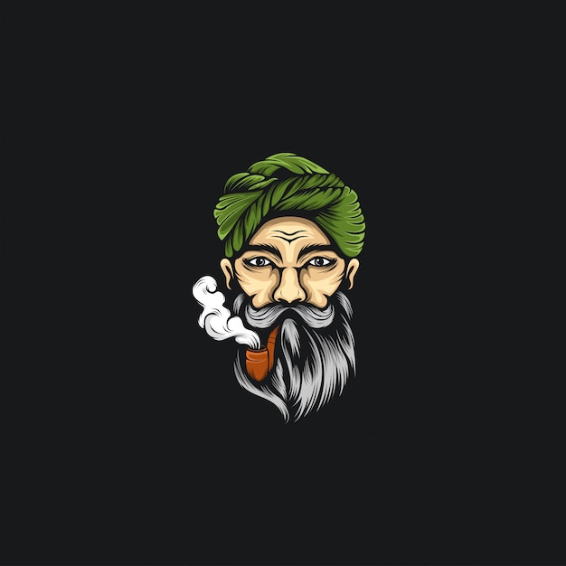 Rauchen bart mann logo illustrationen Premium Vektoren