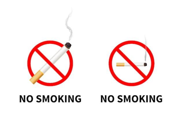 Rauchen verboten schilder Premium Vektoren
