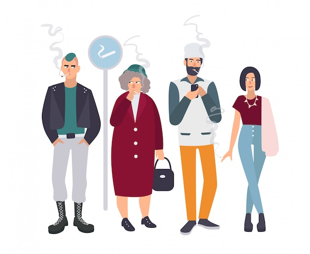 Raucherplatz. verschiedene leute in rauchpause. mann und frau mit zigaretten. illustration im flachen stil. Premium Vektoren