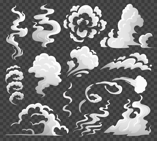 Rauchwolken. komische dampfwolke, rauchwirbel und dampfströmung. staubwolken lokalisierten karikaturillustration Premium Vektoren