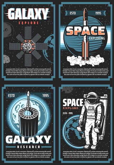 Raum erforschen retro-plakate. vintage-karten der galaxy-expedition mit astronauten, shuttle-weltraumforscher, satelliten und planeten im weltraum. kosmosforschung, kolonisationsmission Premium Vektoren