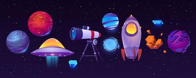 Raum erforschende ikonen, planeten, rakete oder shuttle, teleskop, außerirdisches ufo mit asteroid im dunklen sternenhimmel. Kostenlosen Vektoren