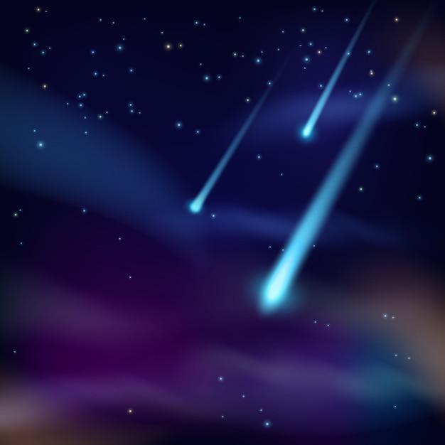 Raum hintergrund mit meteoriten Premium Vektoren