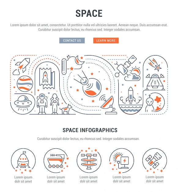 Raum lineare infografik Premium Vektoren