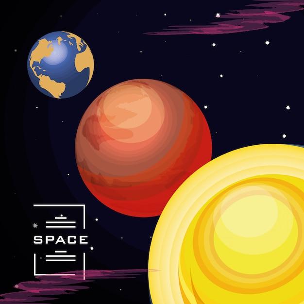 Raum mit erdplaneten-universumszene Premium Vektoren