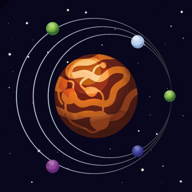 Raum mit mars planet universumszene Premium Vektoren