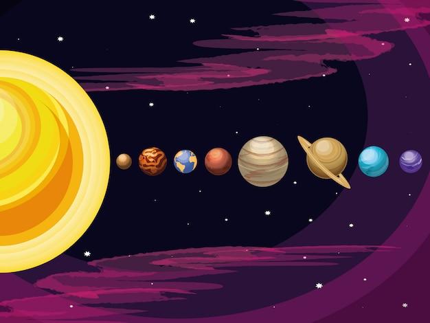 Raum mit satz der planetenuniversumszene Premium Vektoren