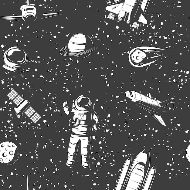 Raum monochrom nahtloses muster mit astronauten kosmischen objekten bemannten schiffssatelliten auf sternenhimmel Kostenlosen Vektoren