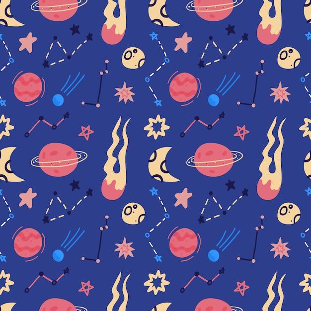 Raum nahtloses muster von planeten, bahnen, fliegenden untertasse, sternen. flacher stilkosmoshintergrund des cartoons. illustration. cartoon-ikonen. Premium Vektoren