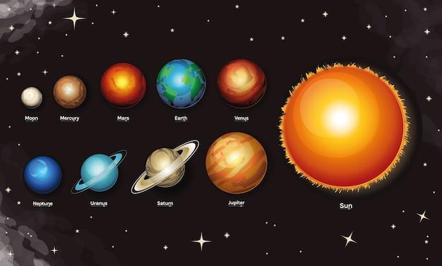 Raum und planet milchstraße stilikone satz von raum futuristisch und kosmos thema Premium Vektoren
