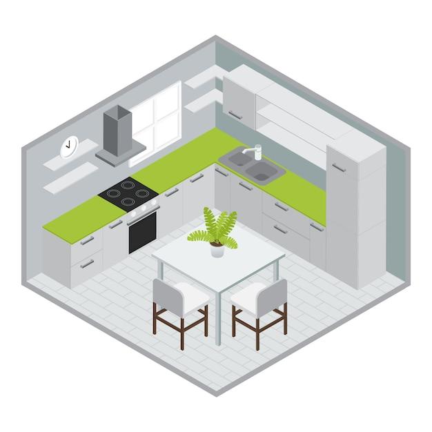 Raum zum kochen isometrisches design mit weißgrünem küchenmöbelofen waschbecken fenster gefliesten boden vektor-illustration Kostenlosen Vektoren
