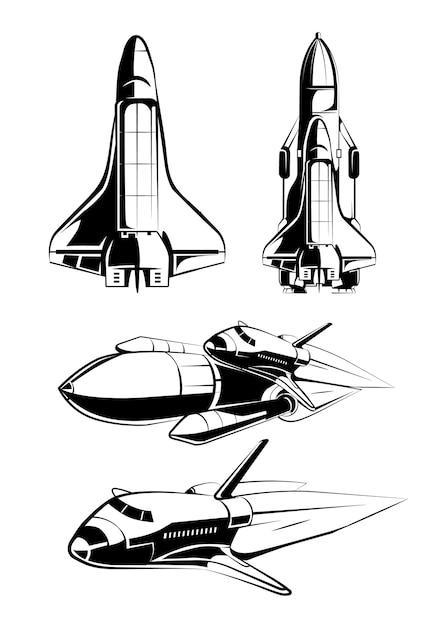 Raumelemente für vintage-astronautenvektoretiketten. rakete im weltraum, technologiewissenschaft, shuttle-illustration starten Kostenlosen Vektoren