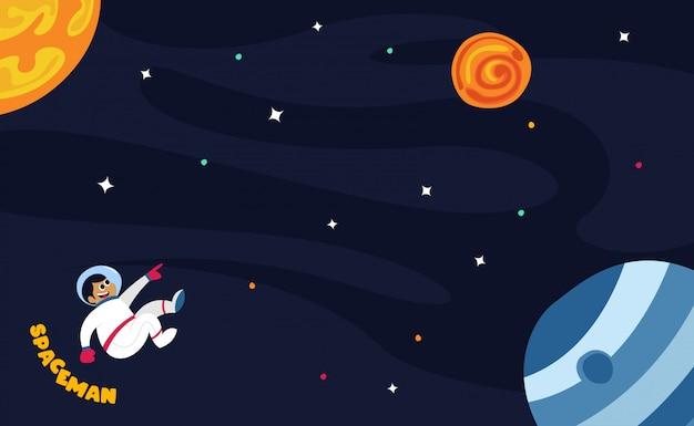 Raumfahrer im weltraum mit aller stern- und planetenillustration Premium Vektoren
