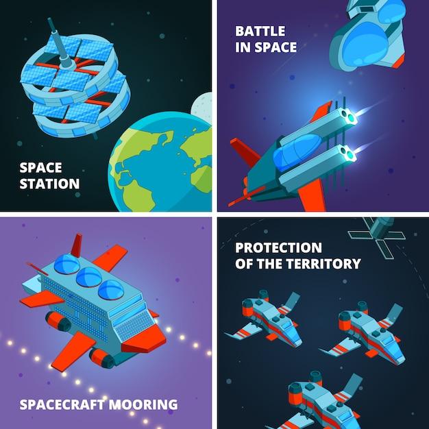 Raumfahrt entdeckung. raumfahrer oder astronaut am bahnforscher mit raumschiff an den interstellaren stationsbildern Premium Vektoren