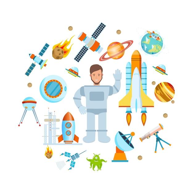 Raumfahrtastronaut auf schiff und kosmischer ausrüstungsvektor Premium Vektoren