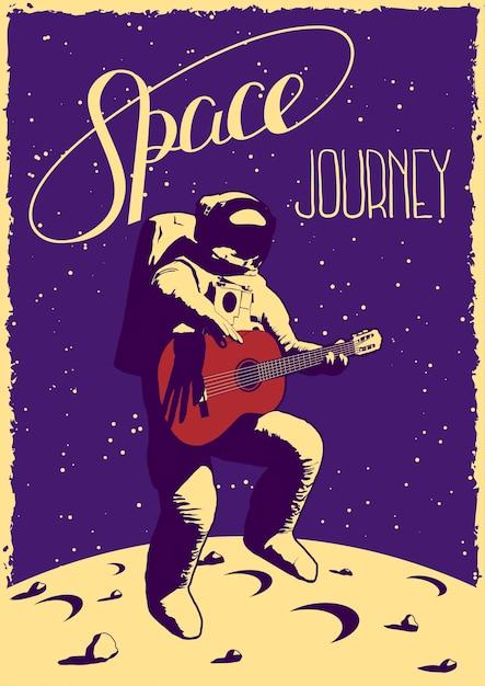 Raumfahrtplakat mit lustigem handgezeichnetem astronauten mit der gitarre, die auf mond springt Kostenlosen Vektoren