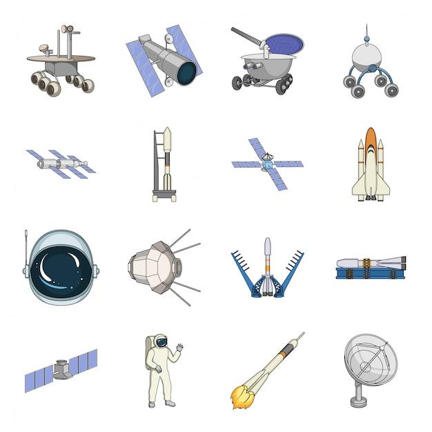 Raumfahrttechnik cartoon set symbol. lokalisierter gesetzter ikonenastronaut der karikatur des universums. weltraumtechnologie . Premium Vektoren