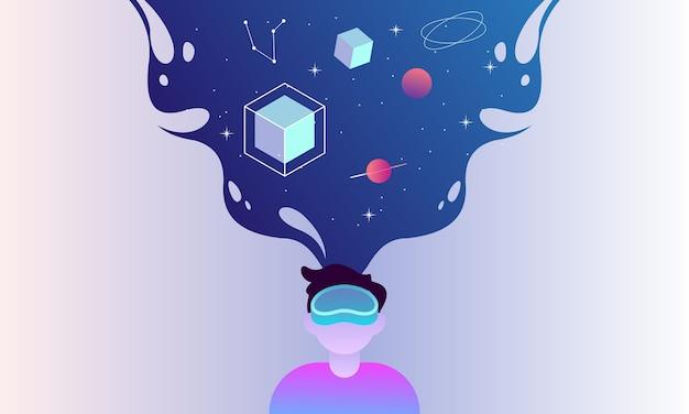 Raumillustrationskonzept der virtuellen realität für landingpage-vorlage Premium Vektoren