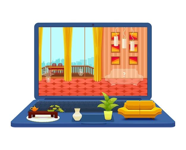 Rauminnenprojekt auf laptop-illustration Kostenlosen Vektoren