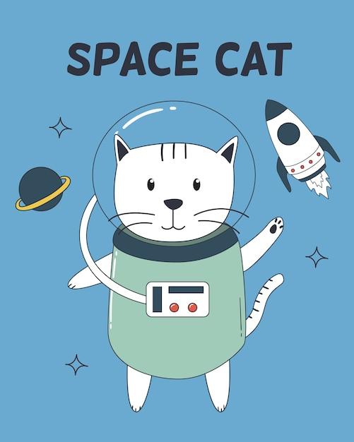 Raumkatze mit astronautenklage, -rakete und -planeten. Premium Vektoren