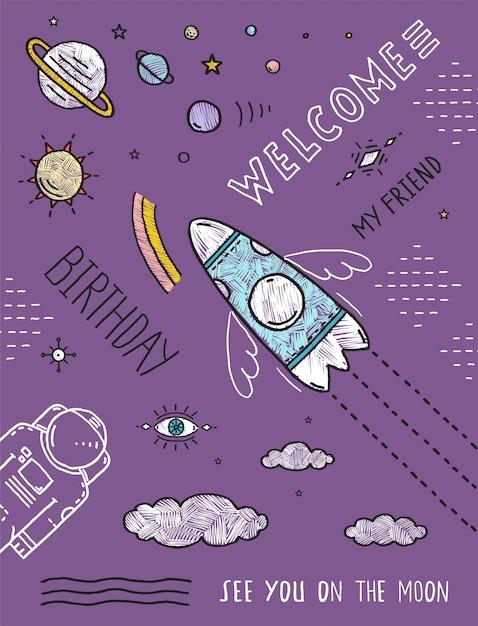 Raumplaneten sterne kosmonaut raumschiff fluglinie kunstplakat oder einladungsentwurf Premium Vektoren
