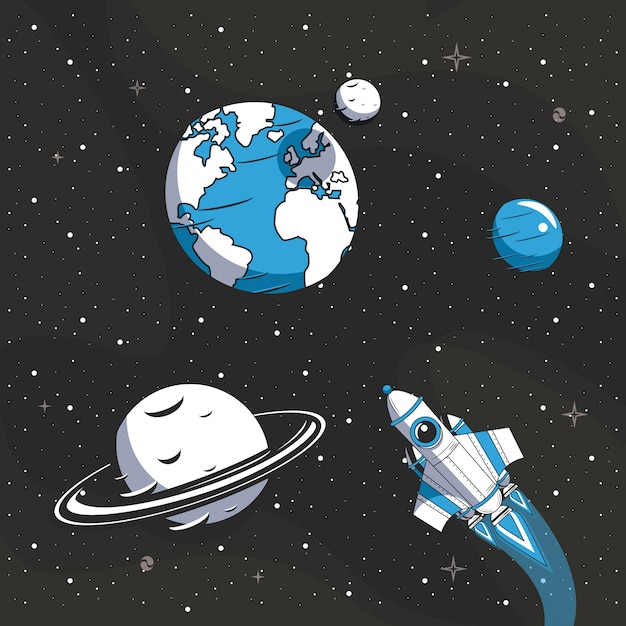Raumschiff fliegt in den weltraum Kostenlosen Vektoren
