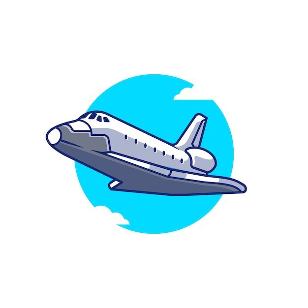 Raumschiff flugzeug fliegende cartoon icon illustration. lufttransport-symbol-konzept isolierte prämie. flacher cartoon-stil Premium Vektoren