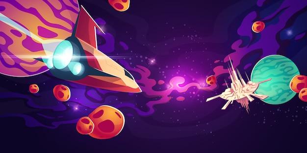 Raumschiff im weltraum mit planeten oder asteroiden Kostenlosen Vektoren