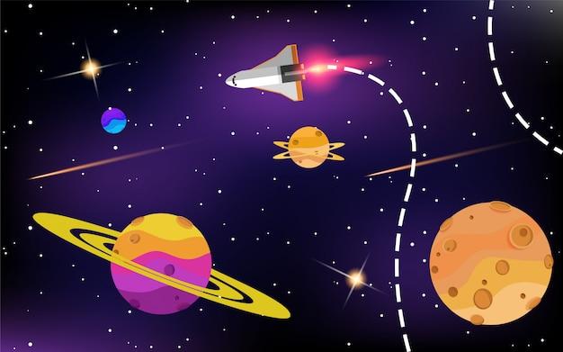 Raumschiff im weltraum mit sternen Premium Vektoren