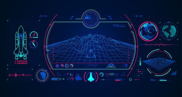 Raumschiff-radar-schnittstelle Premium Vektoren
