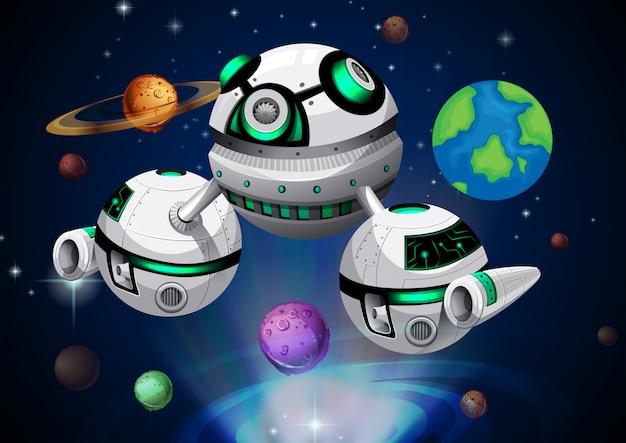 Raumschiff reisen durch den weltraum Premium Vektoren
