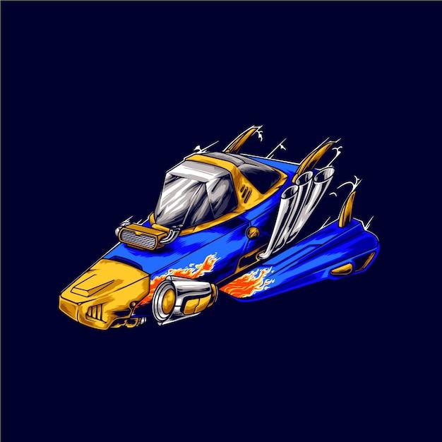 Raumschiff rennfahrer illustration Premium Vektoren