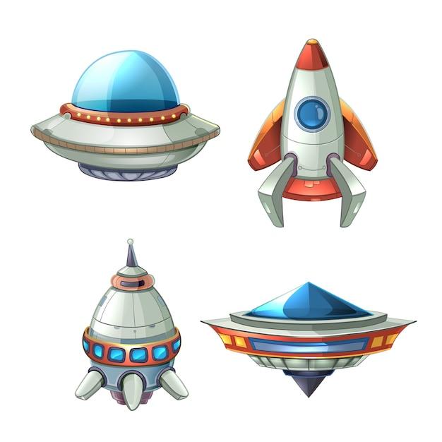 Raumschiff und ufo-vektor eingestellt im karikaturstil. rakete und raumschiff, futuristischer transport Kostenlosen Vektoren