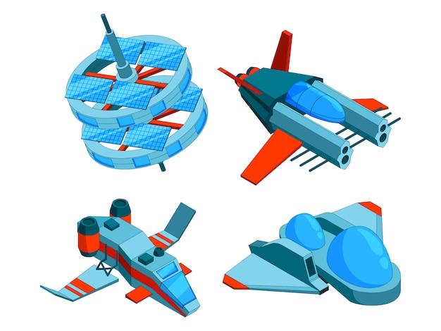 Raumschiffe isometrisch. gebäudetechnik von verschiedenen arten des schiffsfrachtkriegsschiffbombers und der niedrigen polyraumschiffe der antenne 3d lokalisiert Premium Vektoren