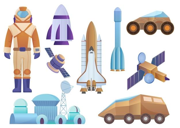 Raumschiffe, kolonialgebäude, rakete, kosmonaut im raumanzug, satelliten- und marsroboter-rover-set. vektorgalaxienraumsatz isoliert Premium Vektoren