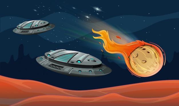 Raumschiffe und astroide im weltraum Kostenlosen Vektoren
