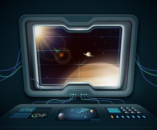 Raumschifffenster mit raumplaneten und sternkarikaturvektorillustration Kostenlosen Vektoren