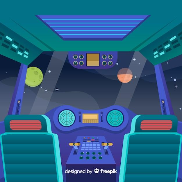 Raumschiffhintergrund im flachen design Kostenlosen Vektoren