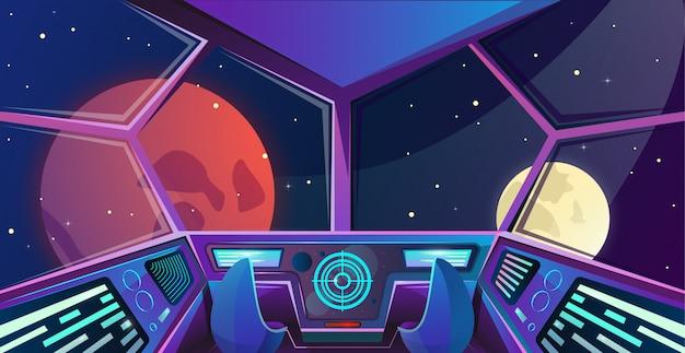 Raumschiffinnenraum der kapitänbrücke mit lehnsesseln in den purpurroten farben Premium Vektoren
