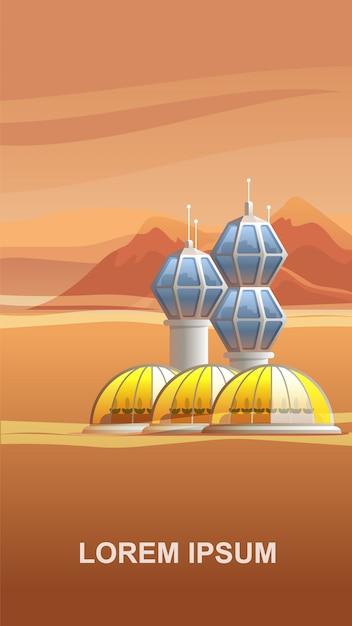 Raumstation-siedlungs-rot-planet. Premium Vektoren