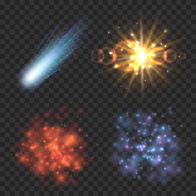 Raumsterne, komet und explosion auf transparentem kariertem hintergrund. sternenlicht, explosionskomet, sterngalaxie, nebel und explosionsmeteorillustration Kostenlosen Vektoren
