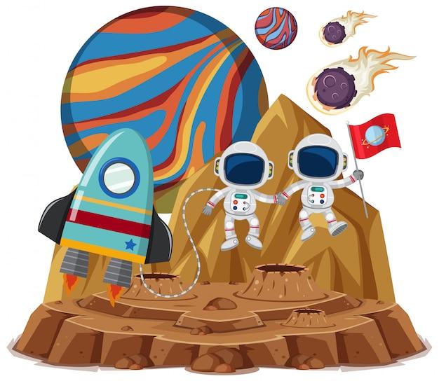 Raumthema mit astronauten, die flagge und raumschiff lokalisiert auf weißem hintergrund halten Premium Vektoren