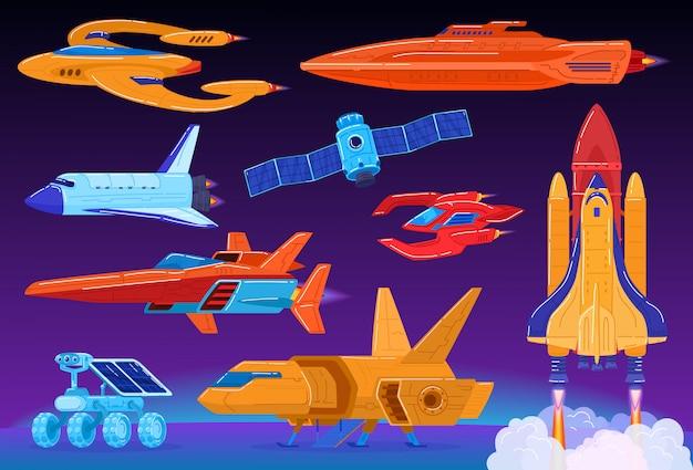 Raumtransport-set, science-fiction-raumschiff und shuttle-start, futuristische technologien, illustration Premium Vektoren